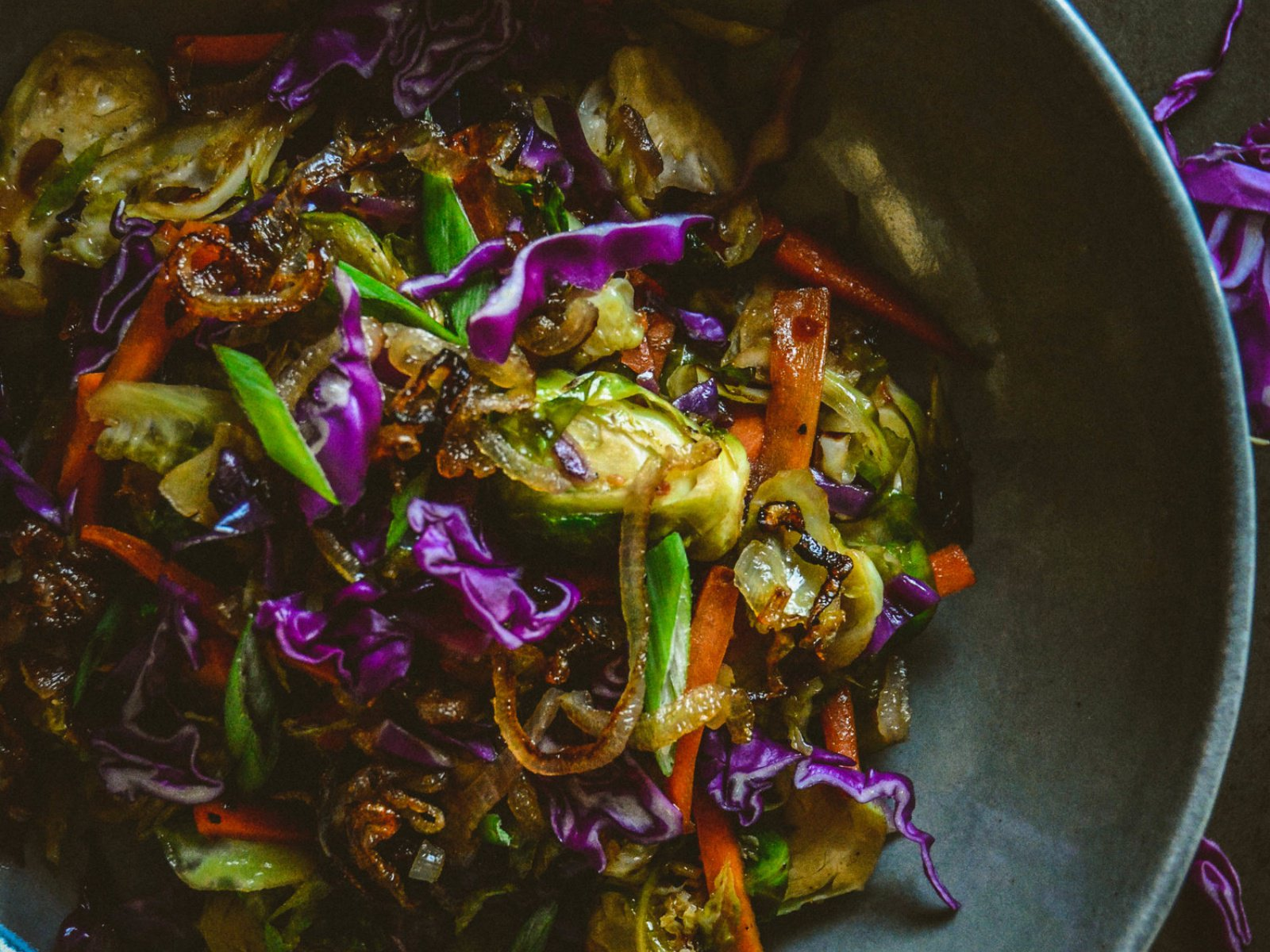 Vegan Brussels Sprouts Salad With Red Cabbage and Sweet Chili Sauce