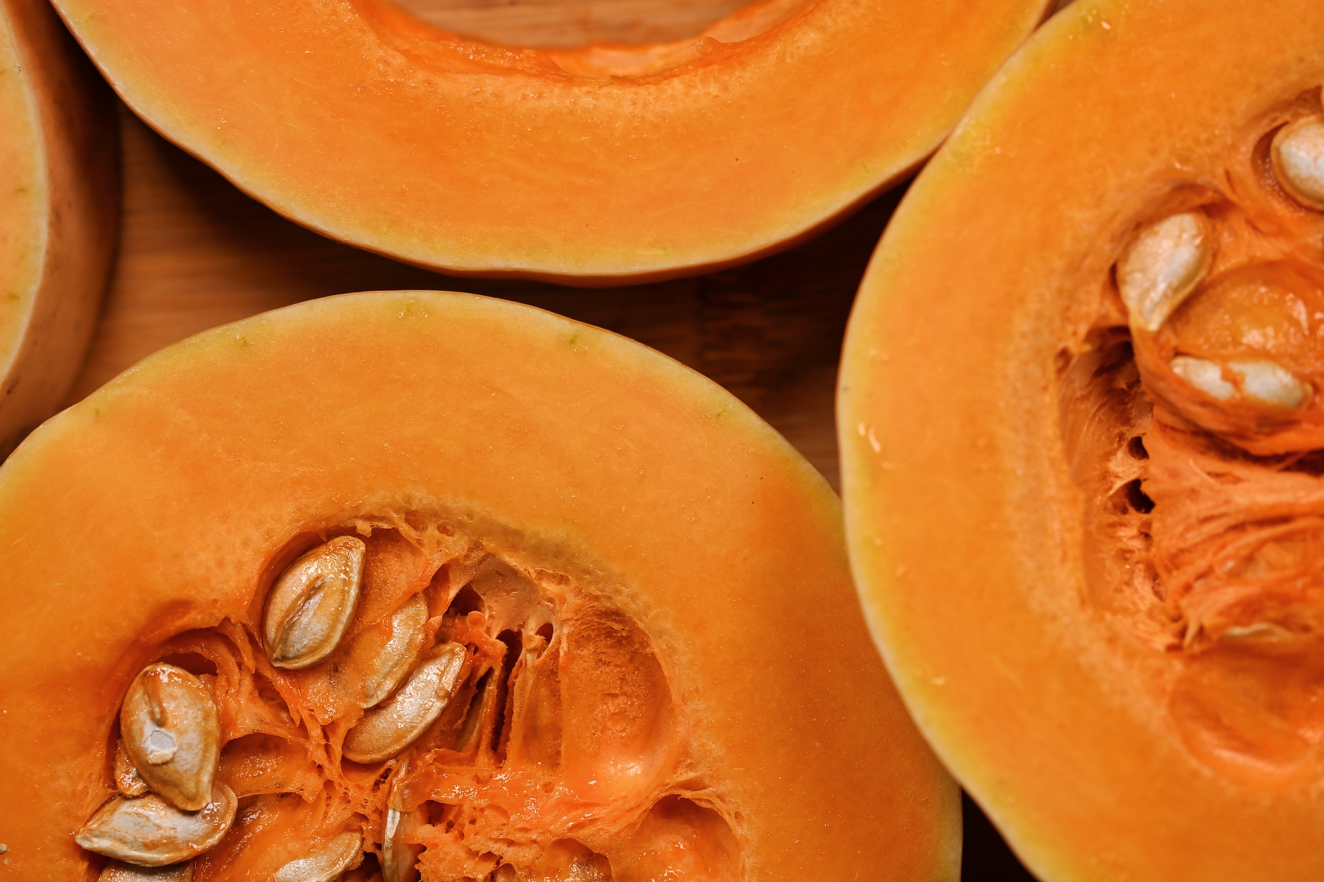 Pumpkins cut in half