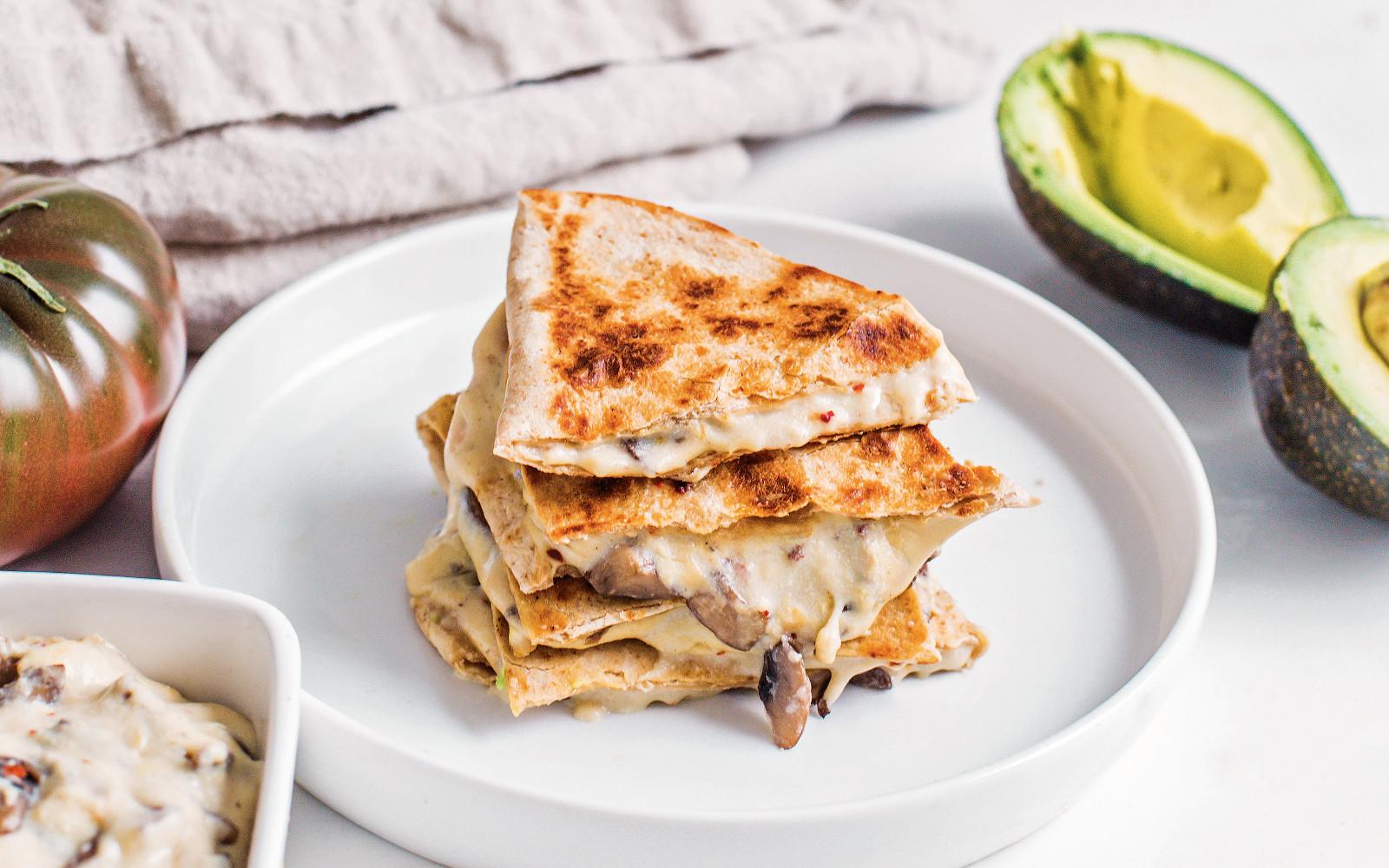 Vegan gooey mushroom quesadillas