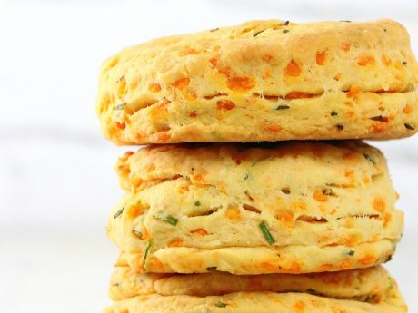 Delicate and flaky vegan cheddar and chive biscuits