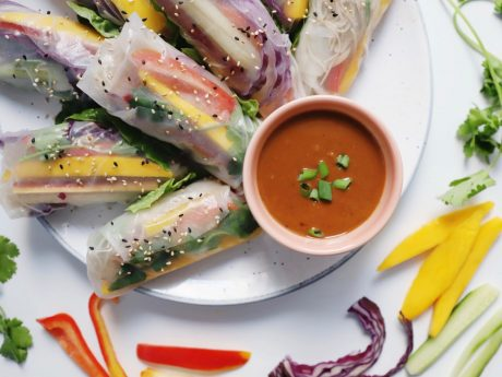 Fresh spring rolls packed with all of your favorite veggies and dipped in a flavorful peanut sauce