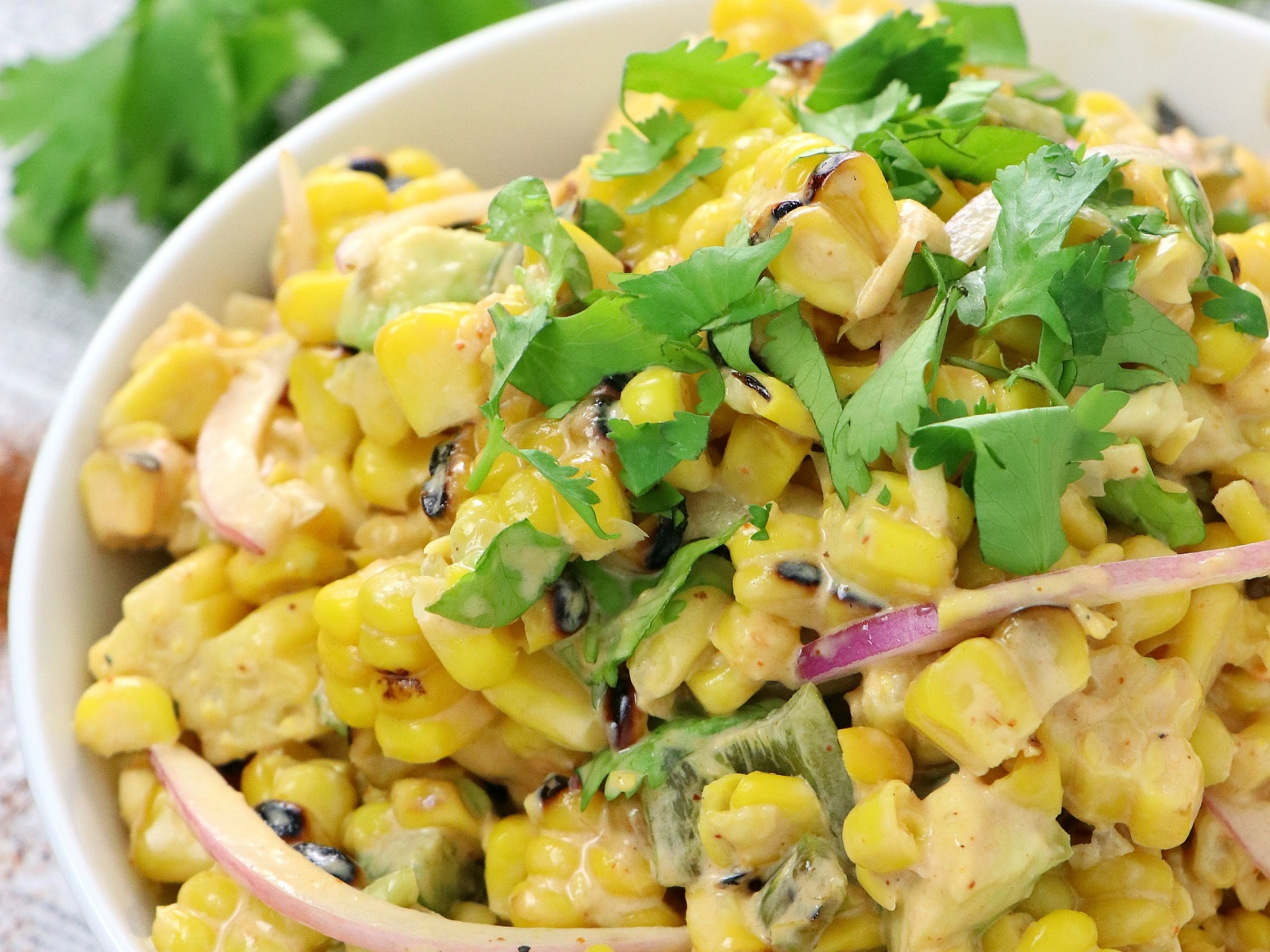 spicy vegan grilled corn salad with jalapeno and avocado