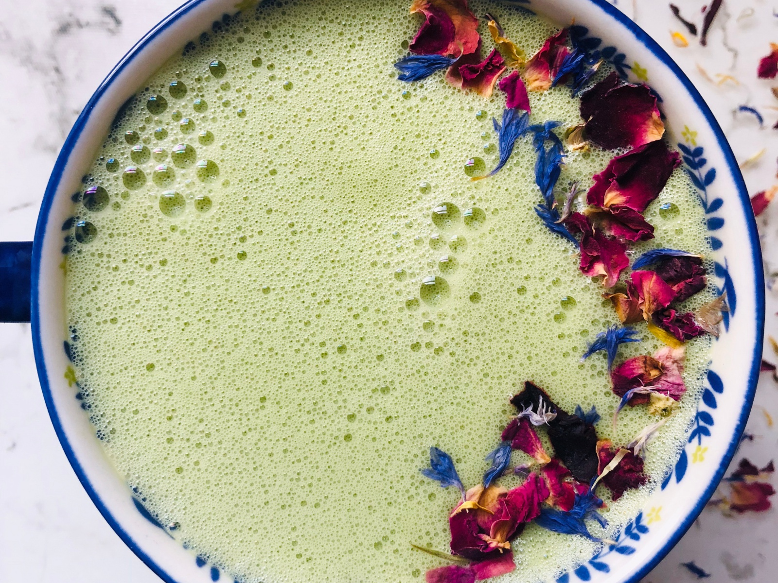 Rich frothy vegan matcha drink