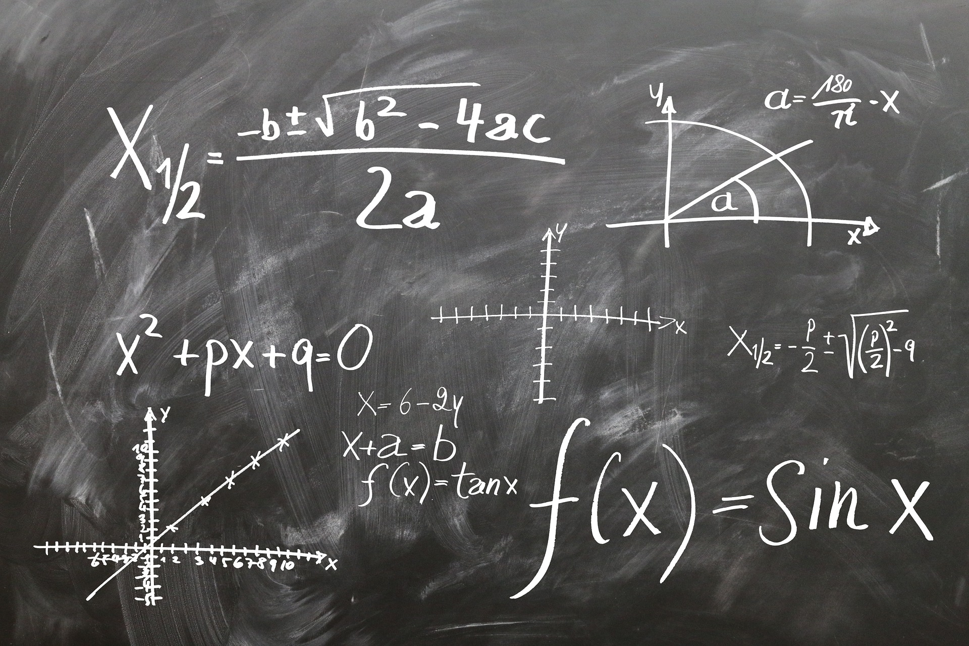 Equations on a chalkboard