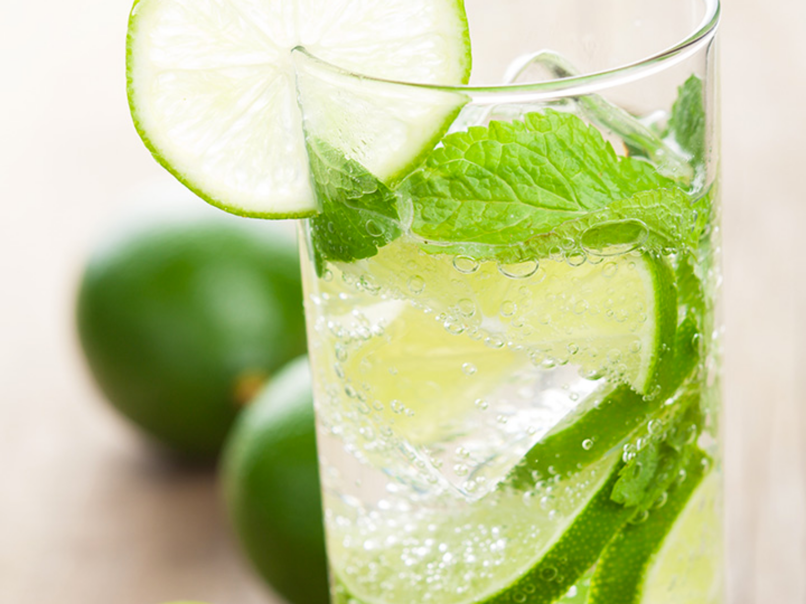 Refreshing vegan mint mojito