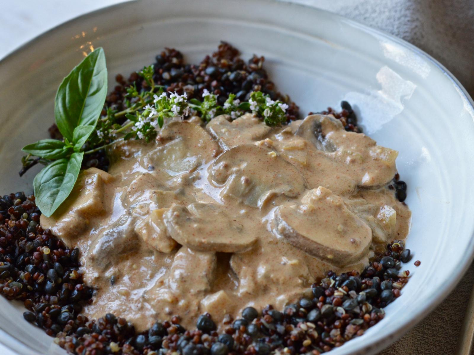 A creamy mushroom dish with rich flavor