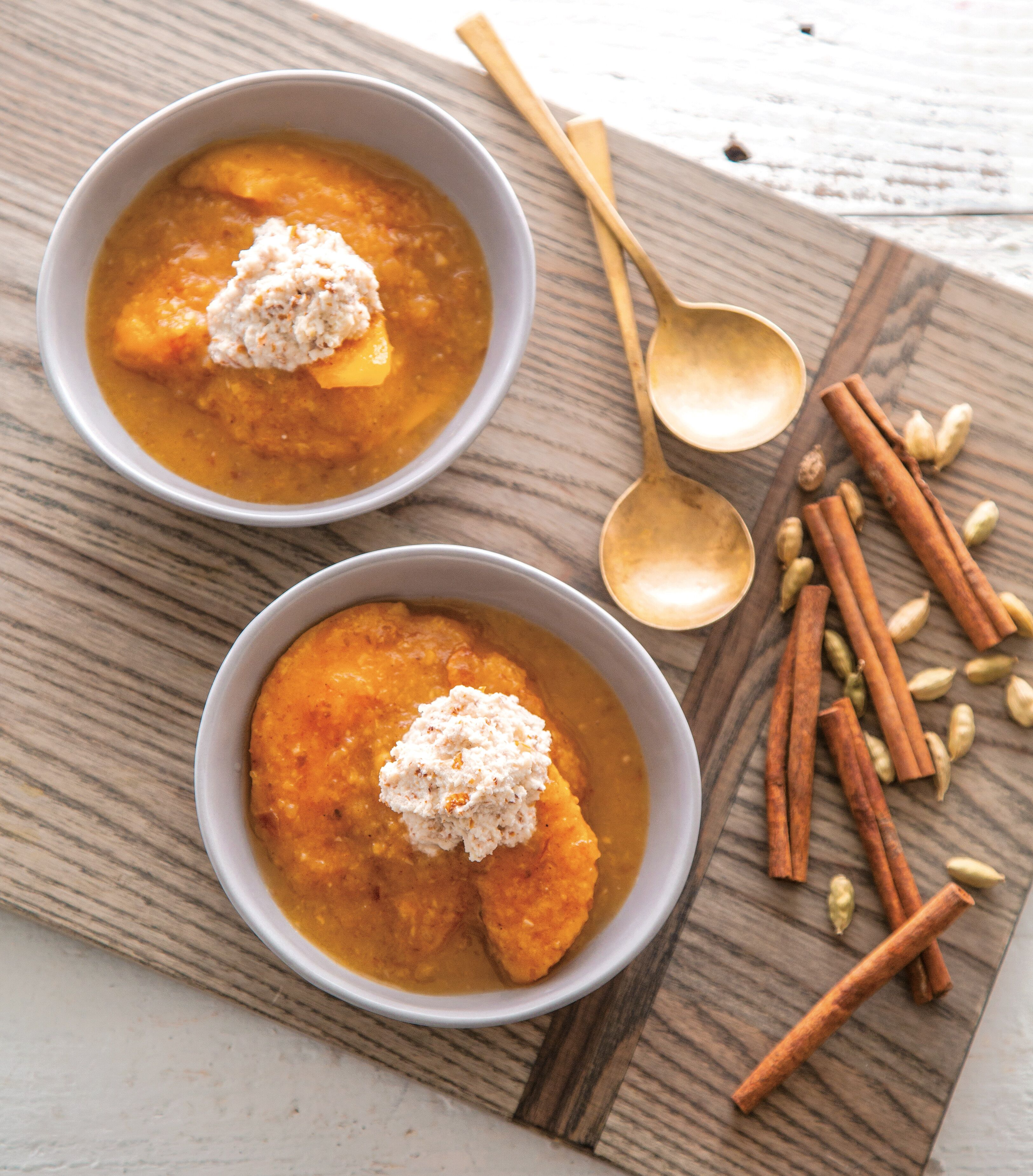 Stewed Peaches with Dates, Cardamom and Almond Cream