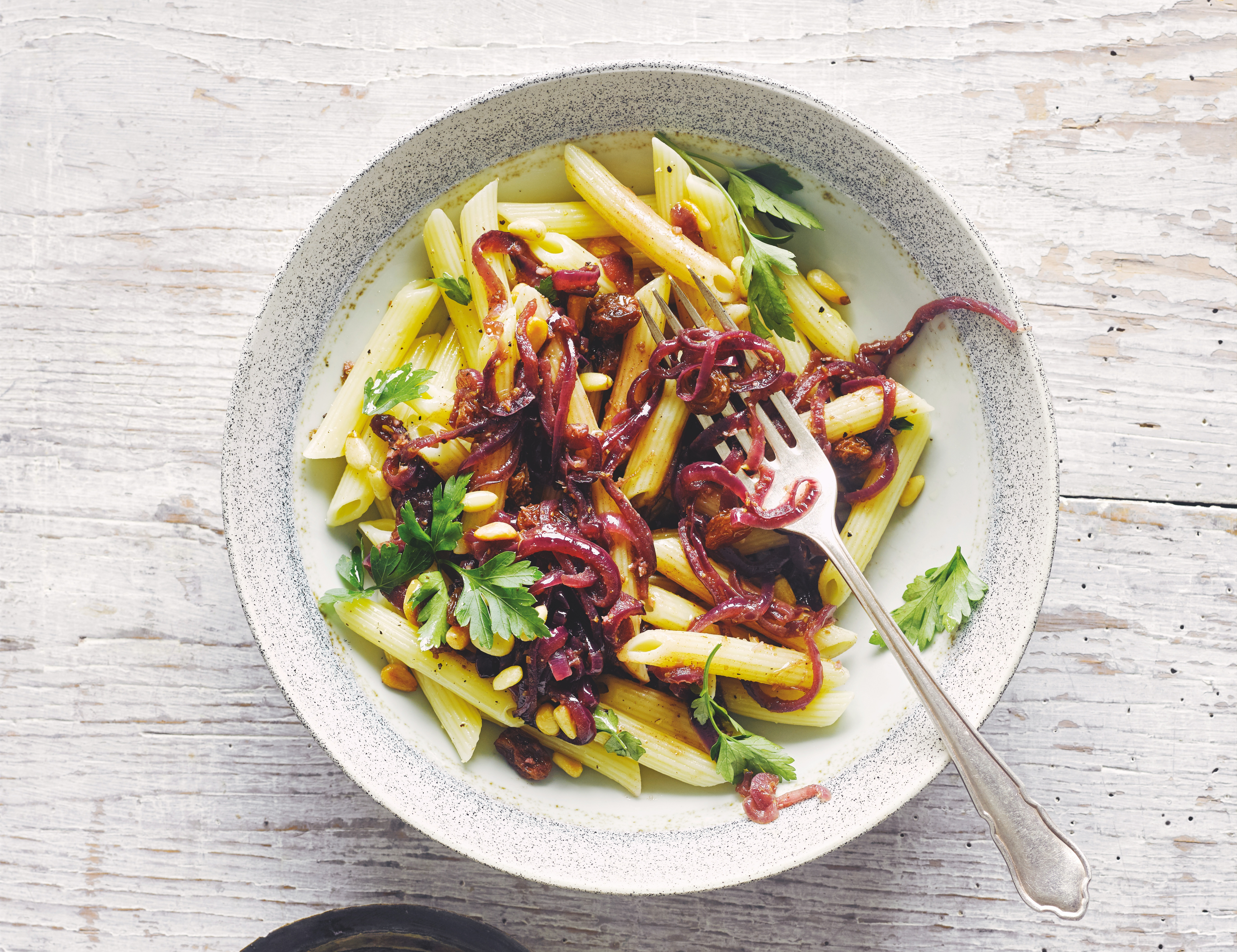 Penne with Spiced Caramelized Onions