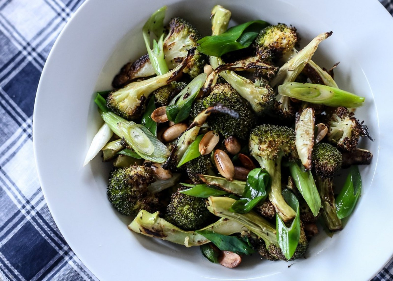 Roasted Charred Broccoli With Peanuts