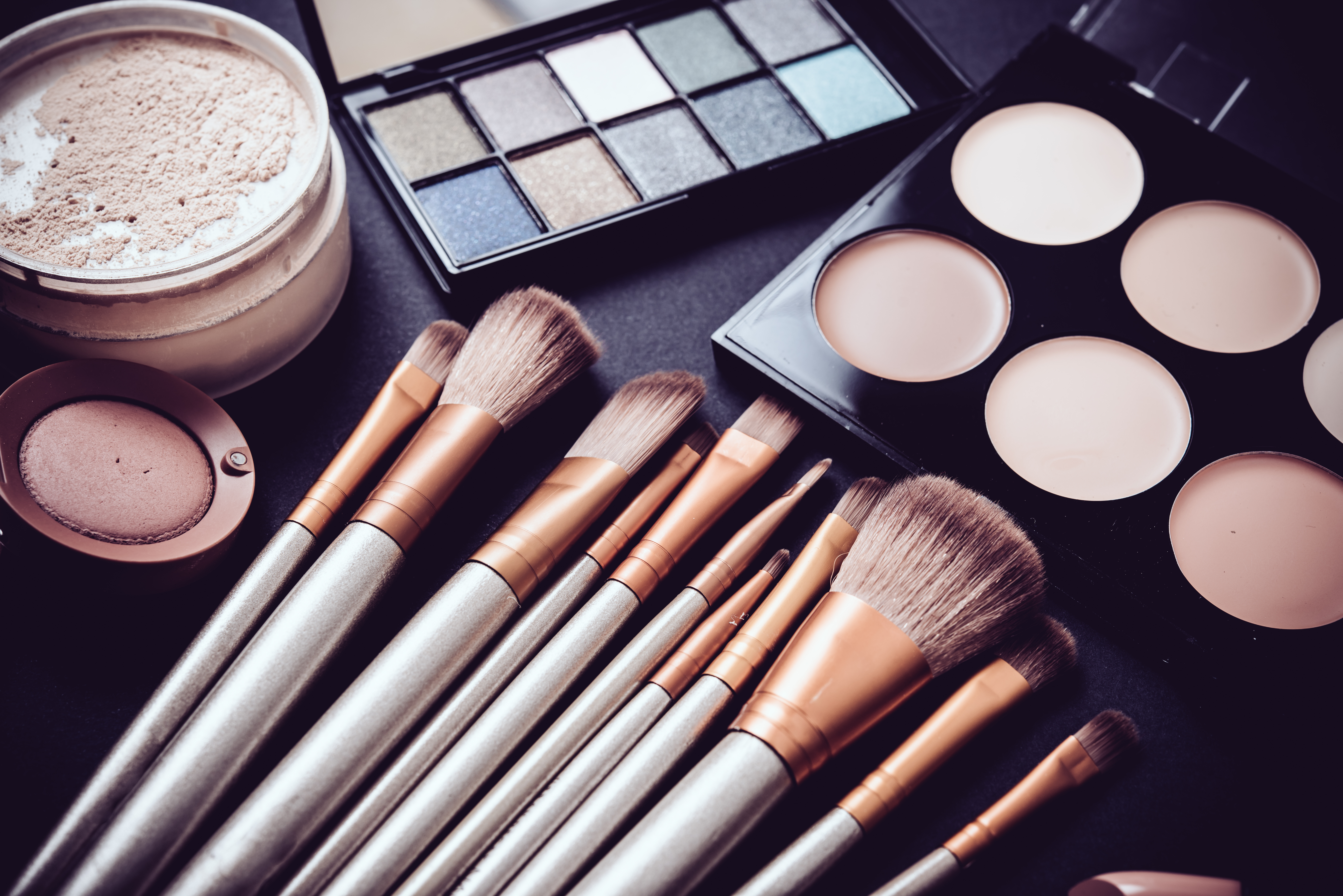 Eyeshadow, brushes, and other makeup products
