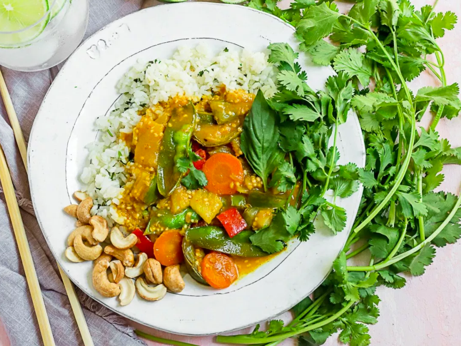 Vegan Thai pineapple yellow curry with vegetables