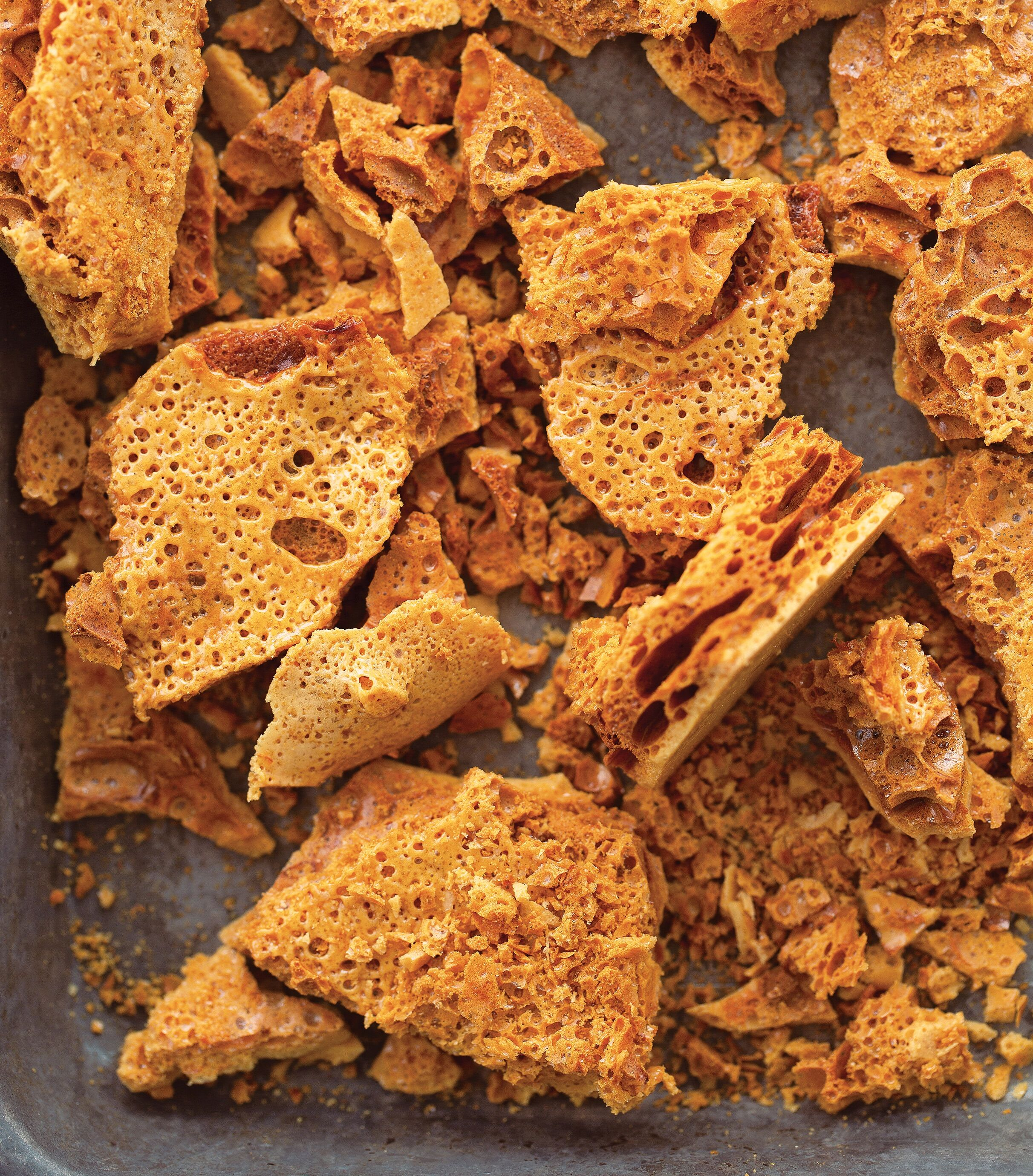 vegan salted honeycomb candy dessert