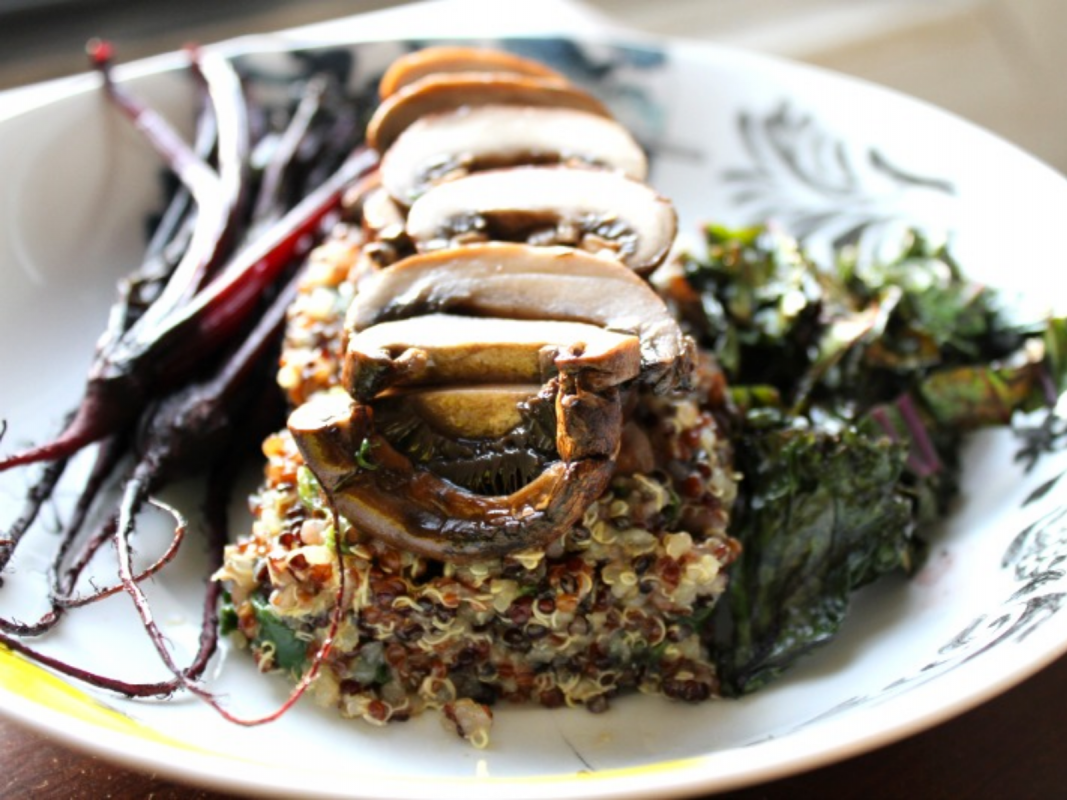 Roasted Mushroom Quinoa Risotto With Baby Beets