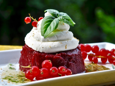 Vegan Sweet and Creamy Currant and Blackberry Kanten With Swiss Cream and Basil Syrup