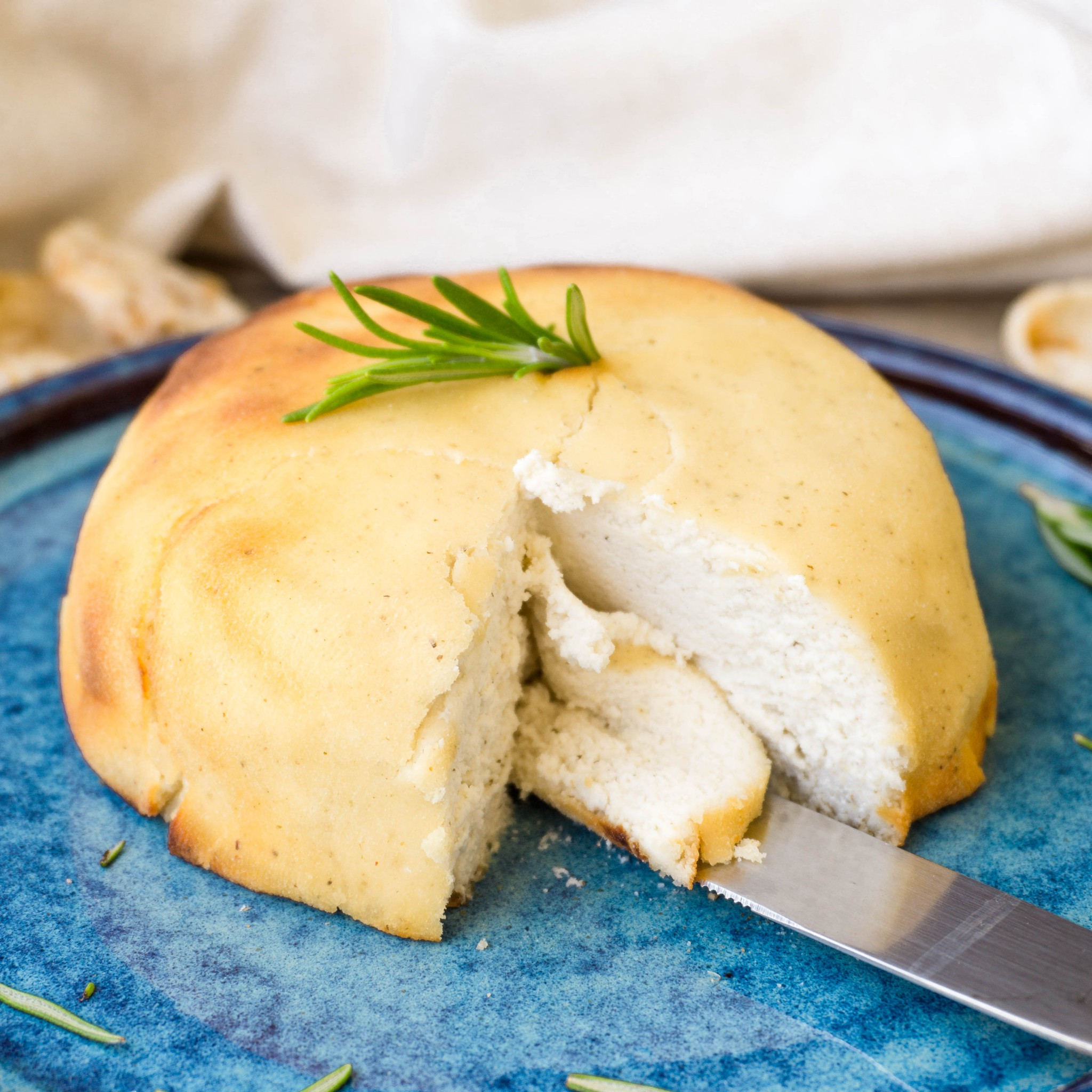 Vegan keto baked macadamia feta