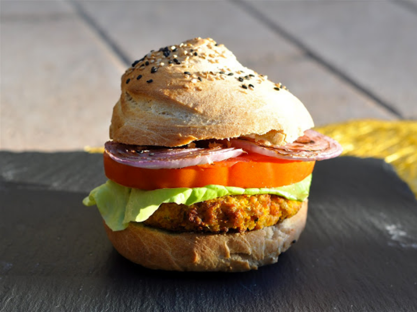 Vegan Soy Burger With Homemade Bun