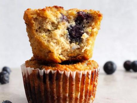 vegan paleo zucchini blueberry muffins