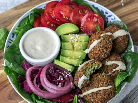vegan carrot filled falafel