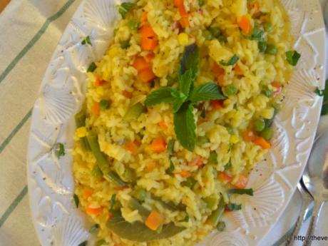 vegan Saffron vegetable risotto