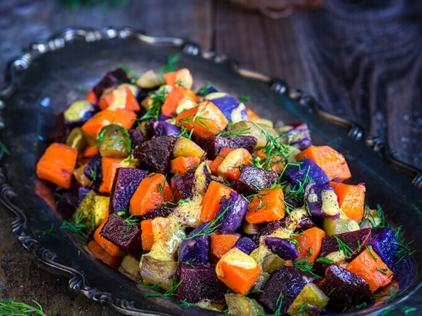 Vegan Carrot Beet Salad With Mustard Garlic Vinaigrette and Dill