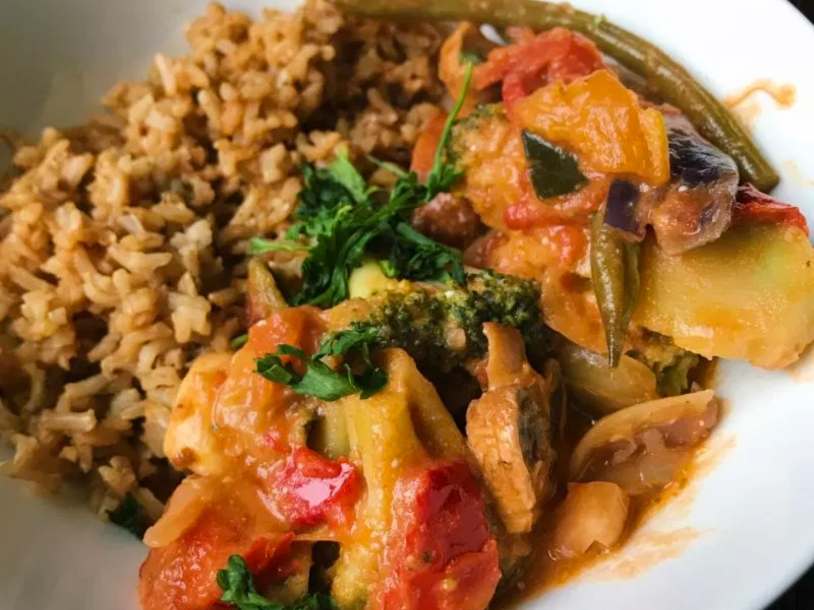 Vegan 'Chicken' Thai Red Curry With Fried Rice