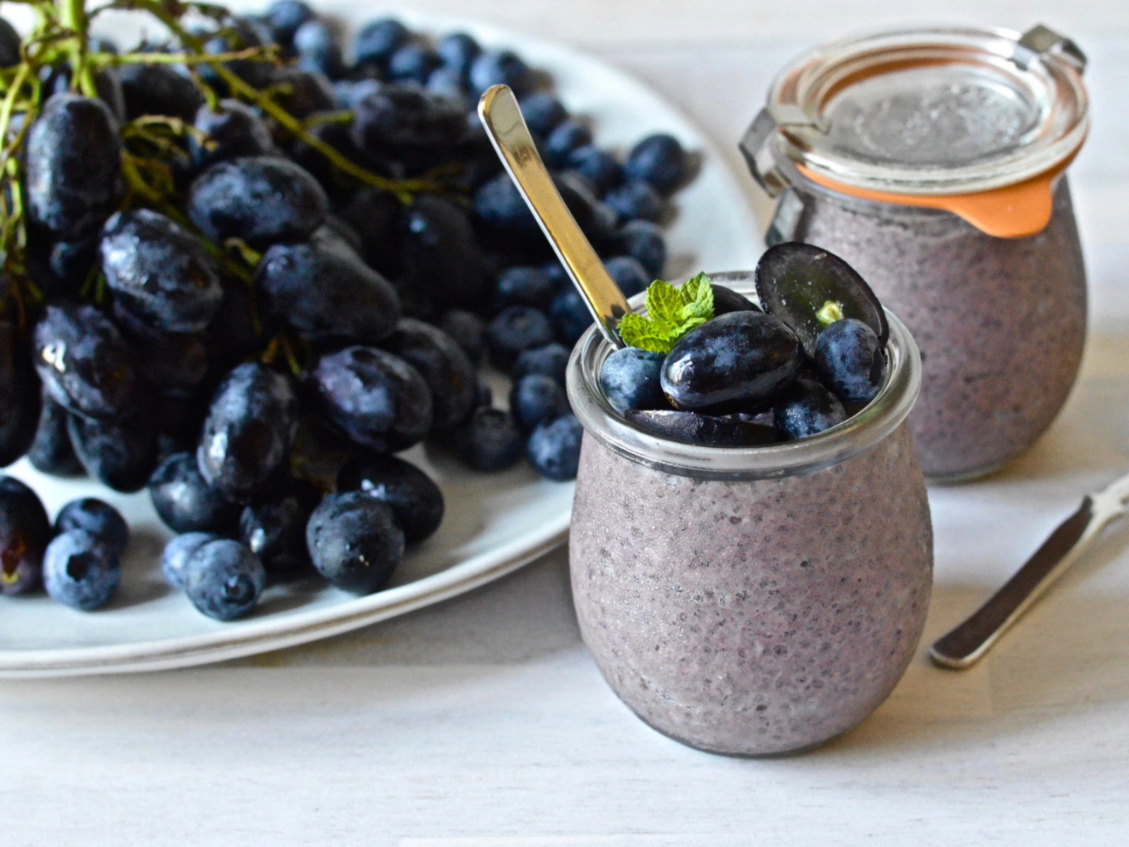 Vegan Black Magic Grape and Blueberry Chia Pudding