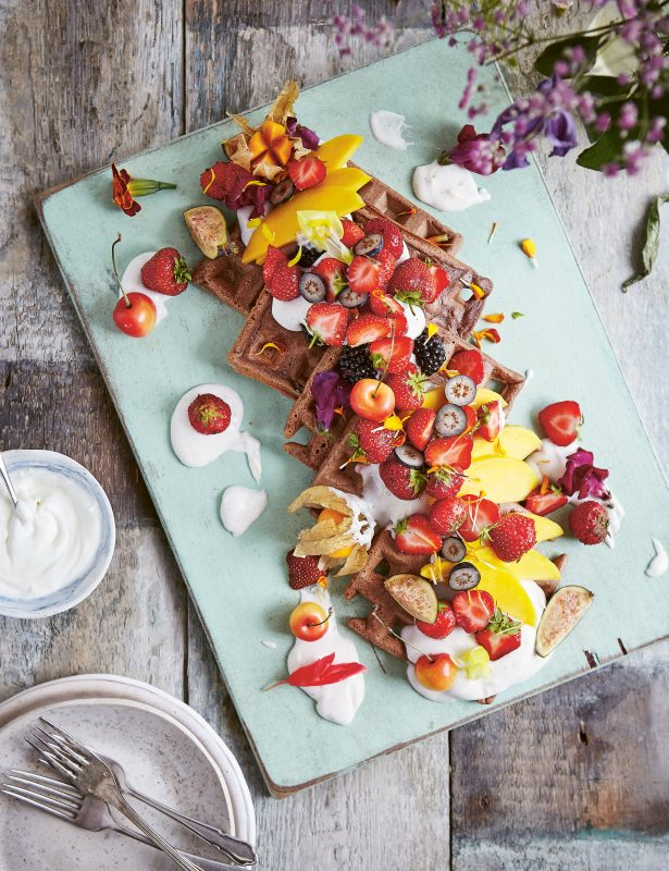 buckwheat waffles with strawberries