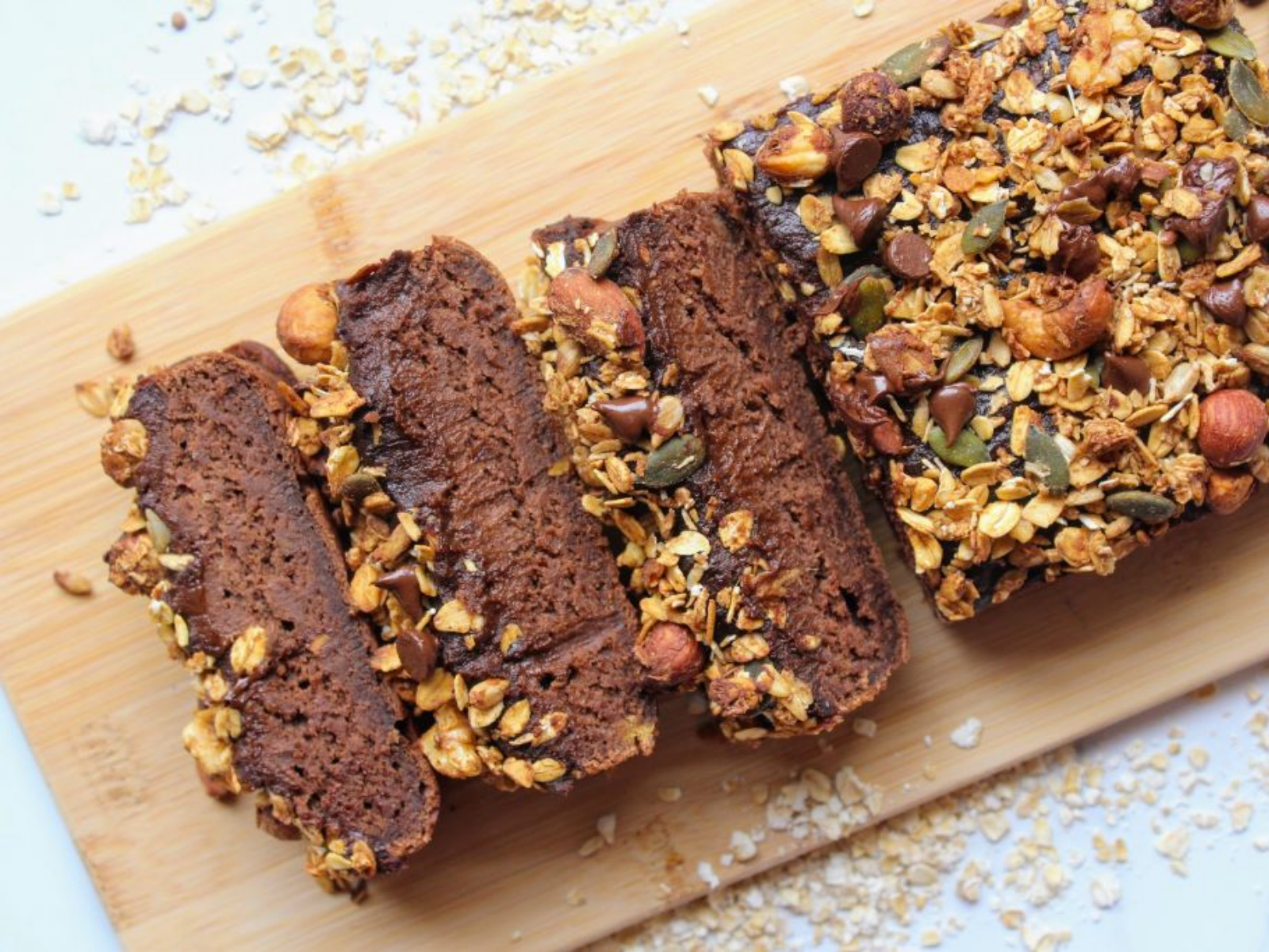 vegan dark chocolate loaf with granola topping