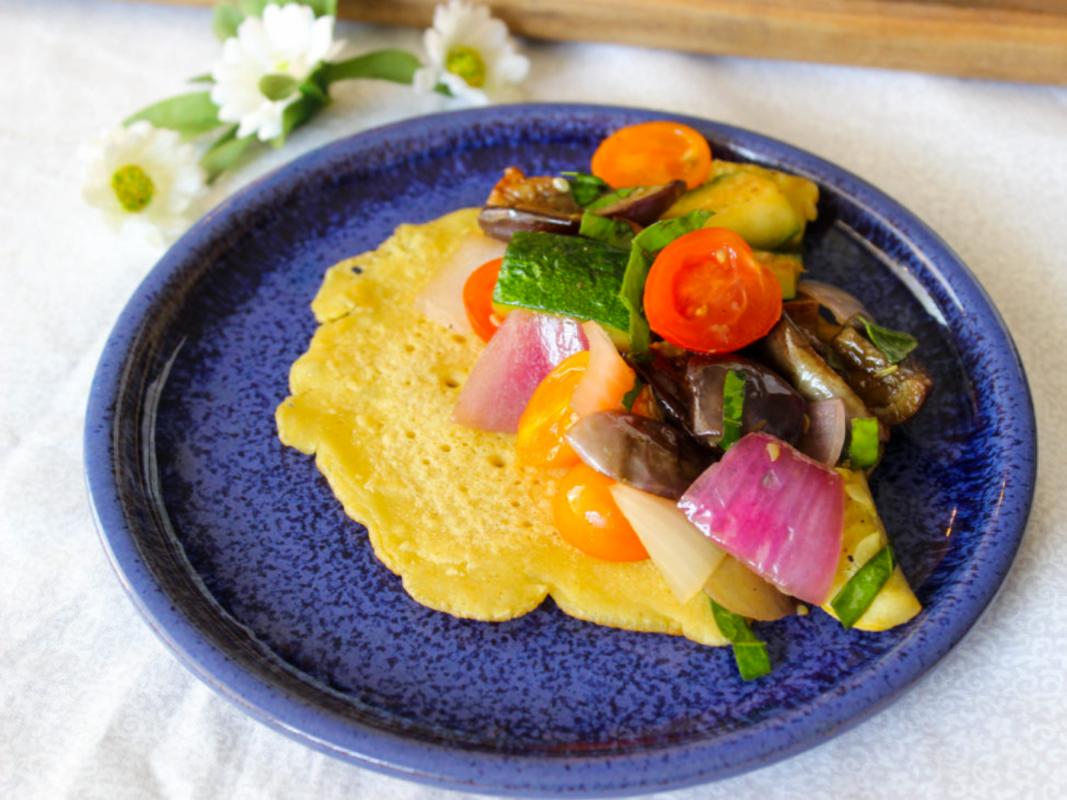 Vegan Farmer's Market Ratatouille With Chickpea Pancakes