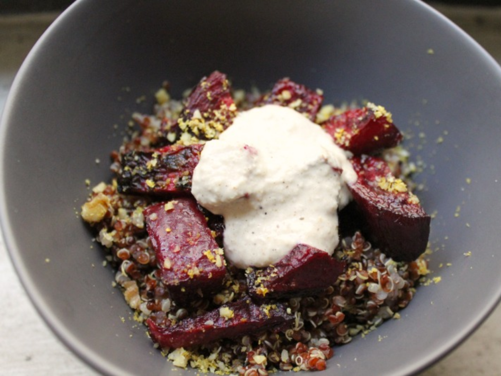 quinoa salad with roasted beets and tahini sauce