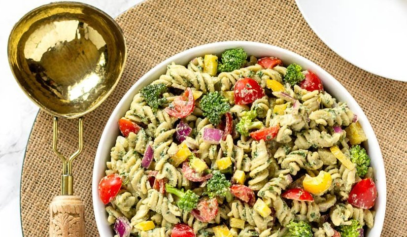 Dairy-free pesto pasta salad