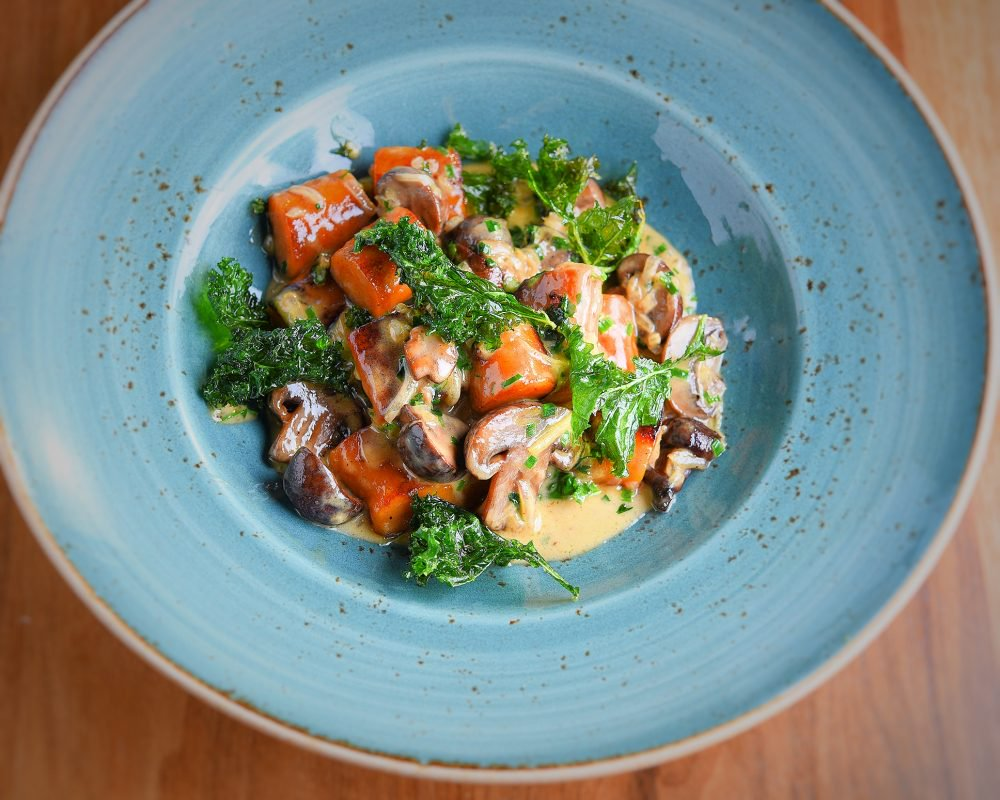 Vegan Sweet Potato Gnocchi With Mushroom Jus and Coconut Sauce