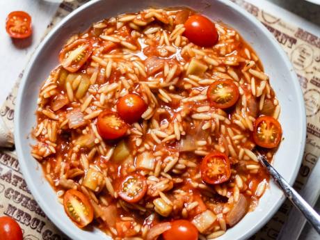 Savory tomato orzo risotto