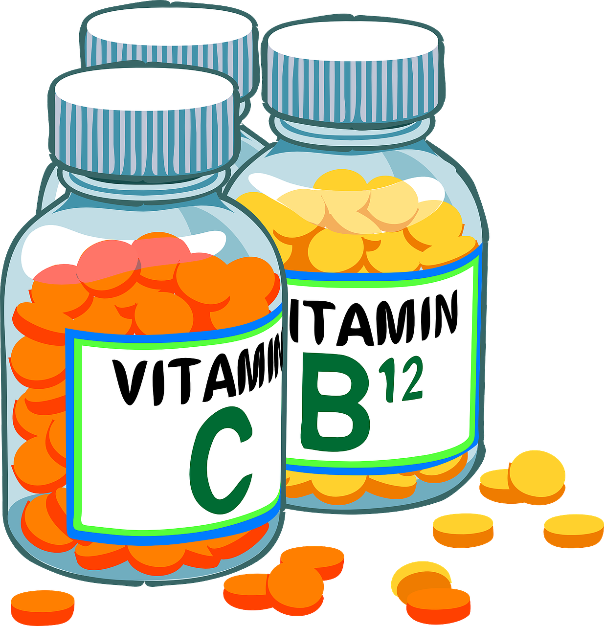 illustrated vitamin C and vitamin b12 bottles