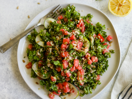 Watermelon quinoa salad with kale