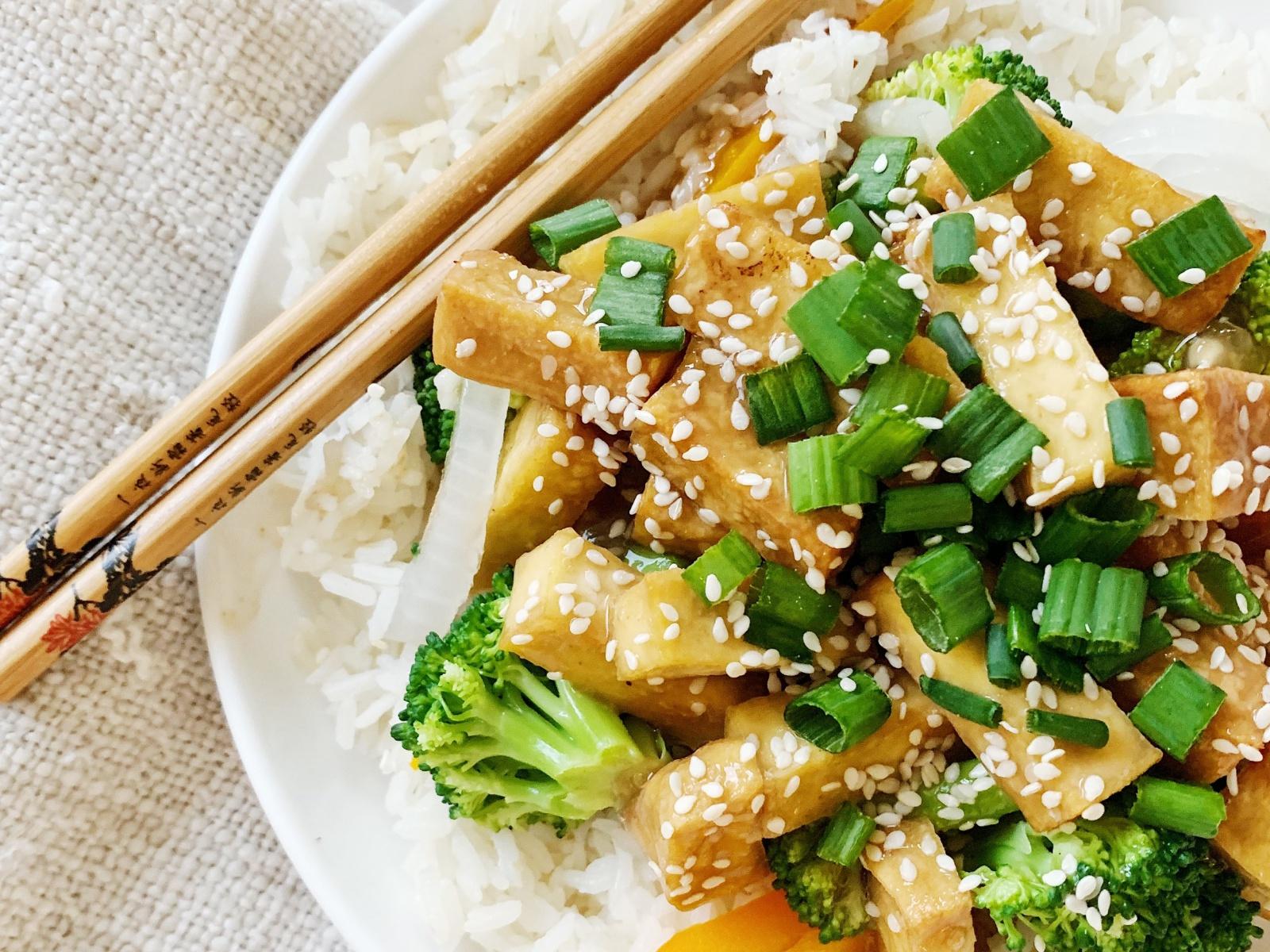 teriyaki tofu and vegetables over rice