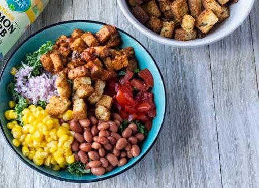 Vegan Spicy BBQ Vegan Chicken Salad with Brioche Croutons