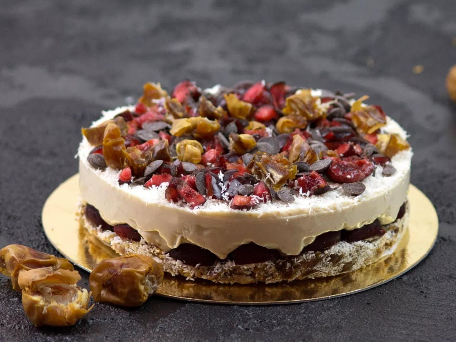 Vegan Coconut Cherry Cake Sweetened With Dates