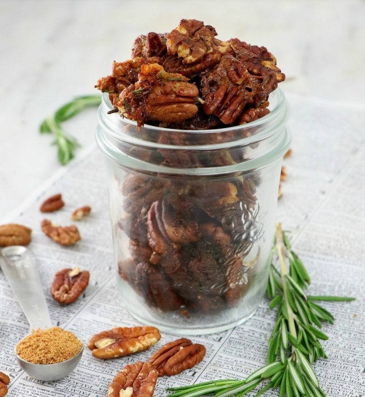 Roasted Sweet and Spicy Rosemary Pecans