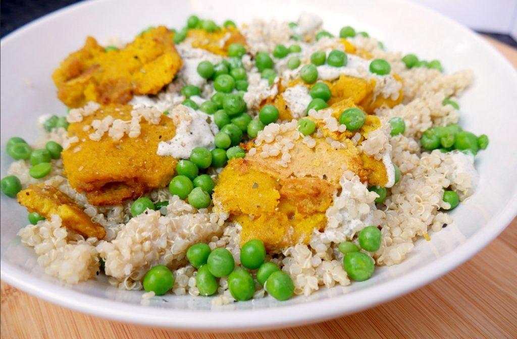 Vegan 'Chicken' Nuggets With Hemp Yogurt, Quinoa and Peas