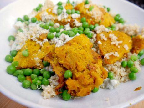 Chicken Nuggets With Hemp Yogurt, Quinoa and Peas [Vegan, Oil-Free]