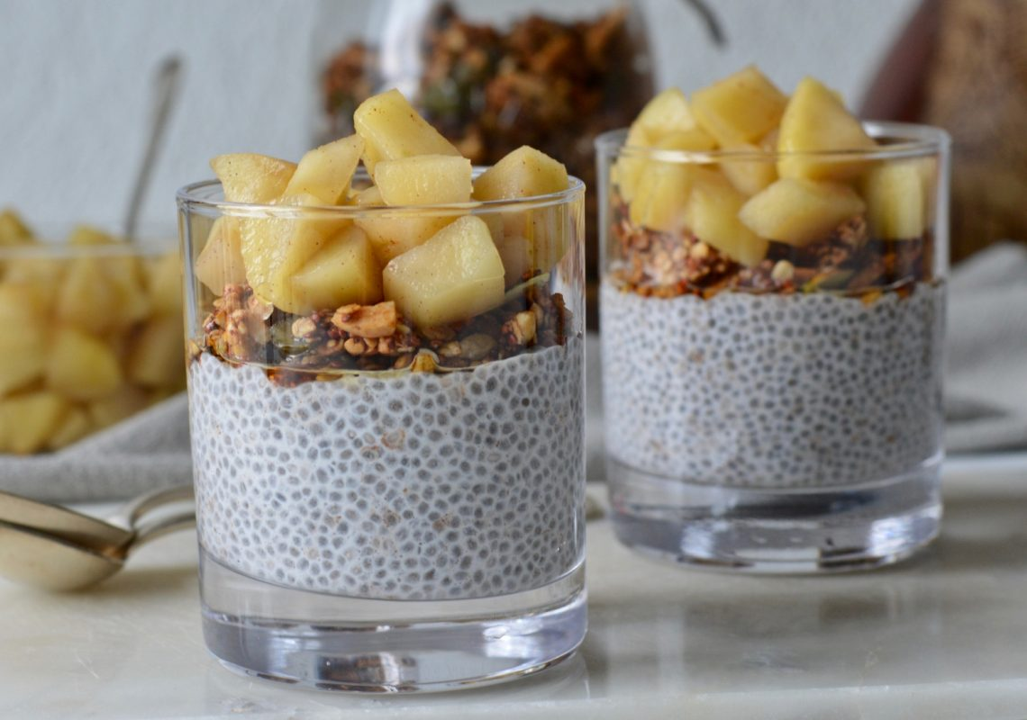 Apple Chia Puddings With Homemade Apple Compote