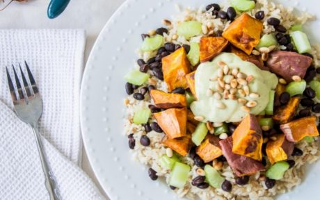 coconut brown rice with sweet potato black beans and avocado a la creme