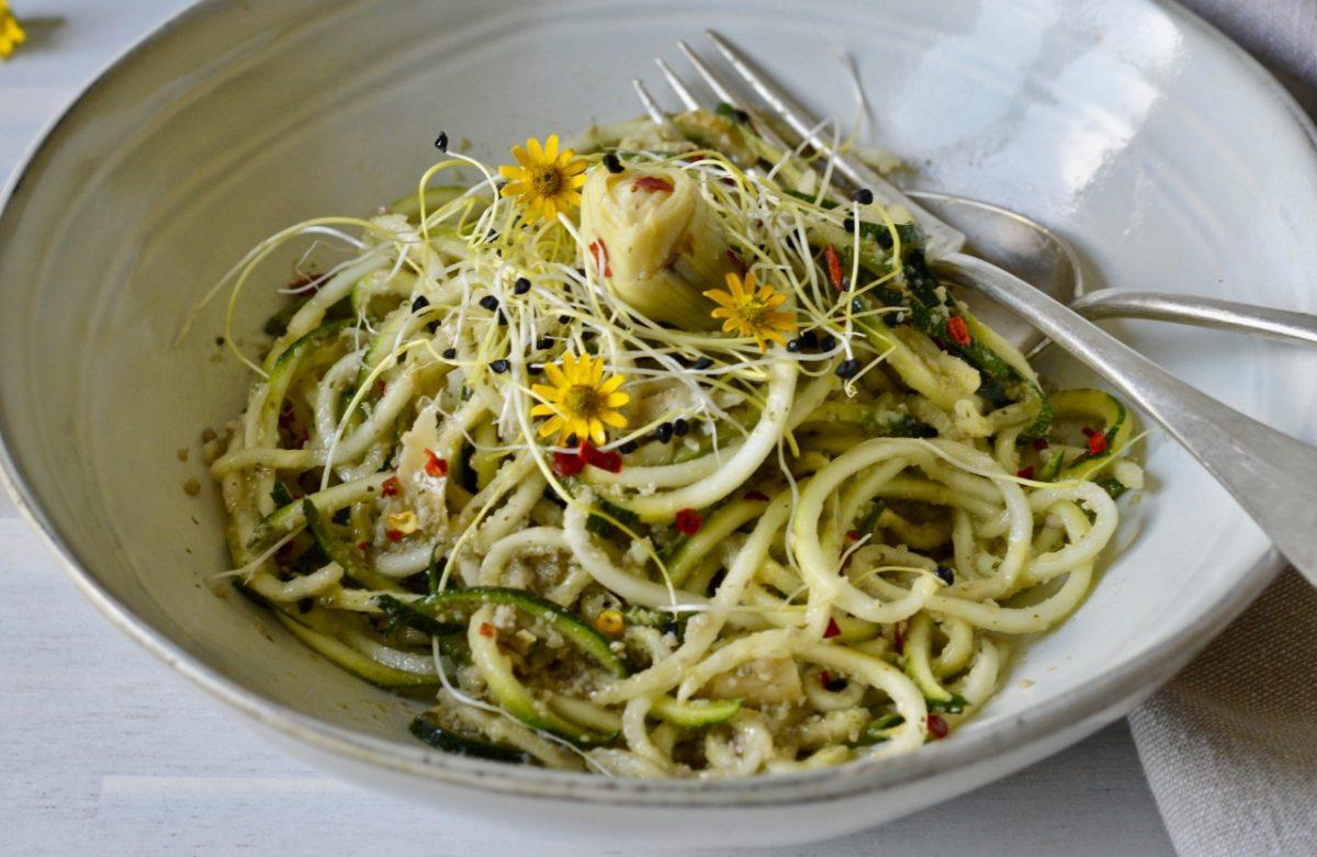 Vegan Artichoke Pesto Zucchini Noodles