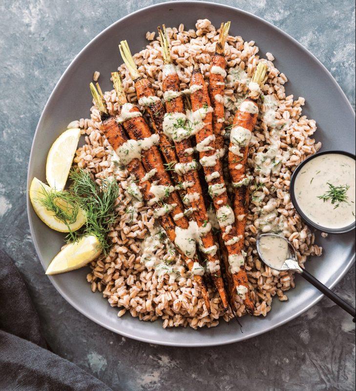 vegan Farro With Spice-Roasted Carrots and Dill-Garlic Tahini Sauce