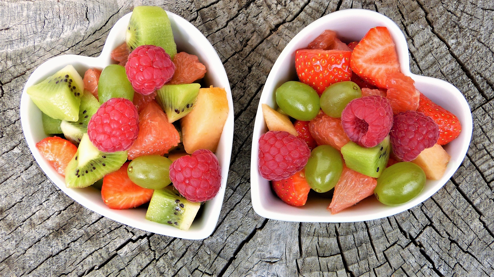 Two heart shaped Bowls of fruit