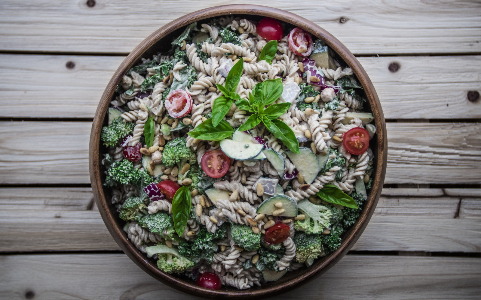 Vegan Garden Potluck Pasta Salad With Veggies, Herbs, and Orange-Miso Tahini Dressing