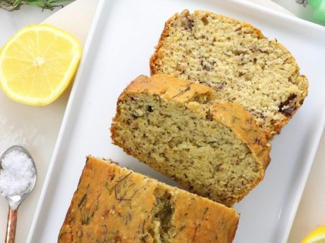 vegan lemon rosemary banana bread