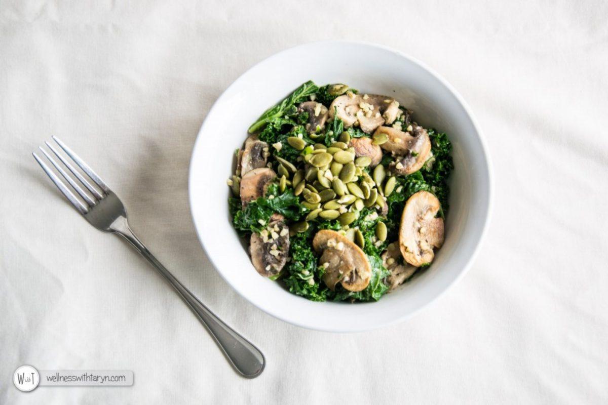 Vegan Marinated Kale and Mushroom Salad