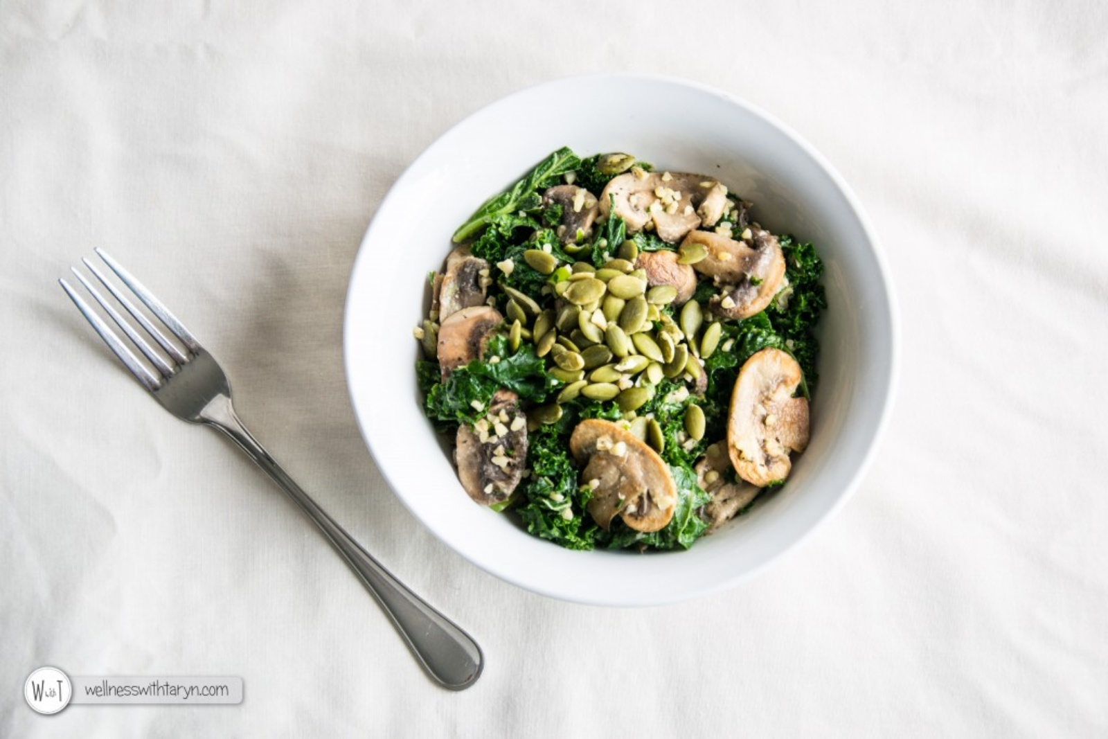 marinated kale and mushroom salad